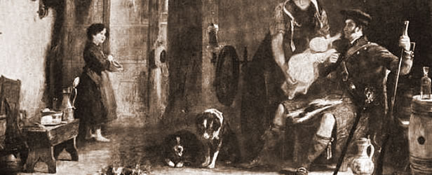 Old Type Scotch Collies in a Painting